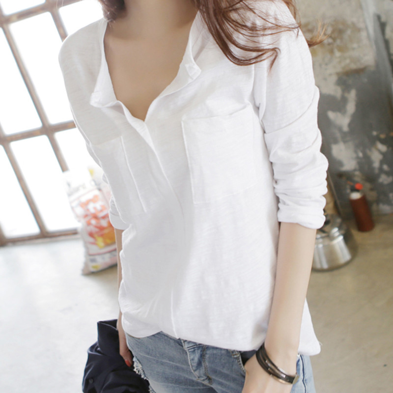 2018 New Spring Fashion Solid Color Long Sleeve Cotton T-shirt V Neck Loose Students Tops White Feminine Basic Tshirts