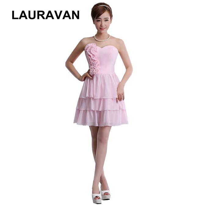2018 sweetheart korean popular sexy elegant pink   bridesmaid     dresses   classy chiffon   dress   strapless short free shipping
