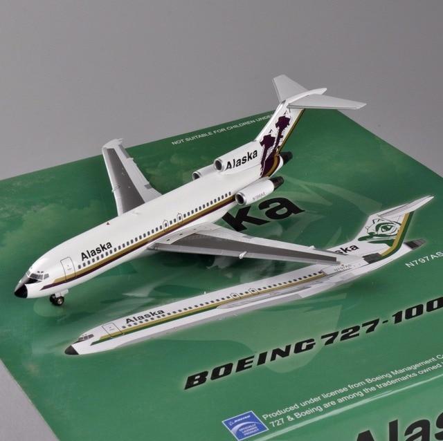 A bordo Escala 1:200 Alaska N766AS Boeing 727-100 Aviones Modelo Del Aeroplano Modelo de Avión Juguetes brinquedos Regalos Colección E
