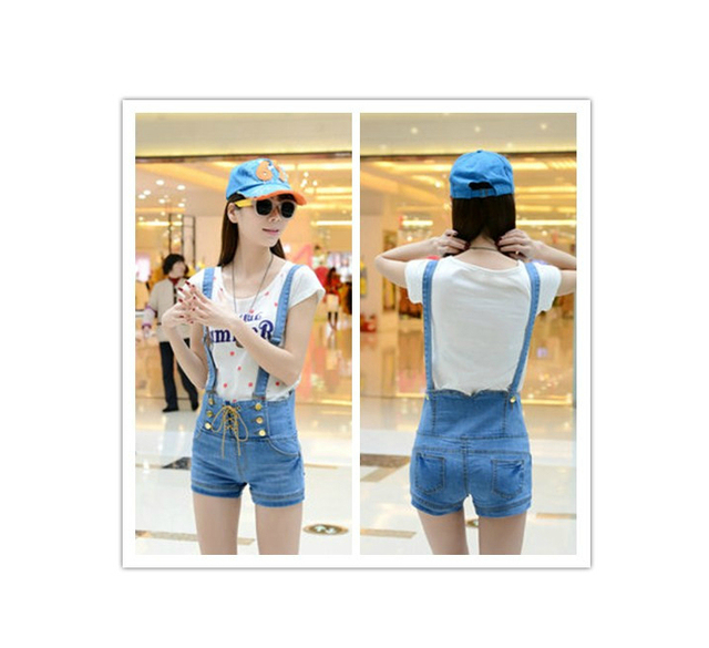 dfb242cf3f044 Summer New Arrival women s fashion slim Denim shorts suspenders overalls  high waist lacing spaghetti strap pants korean-in Jeans from Women s  Clothing ...
