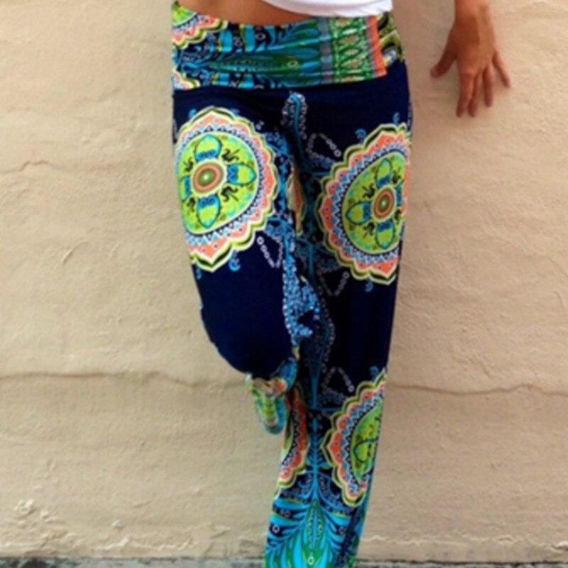 Floral Casual Wide Leg Long Harem High Waist Loose Elastic Waist Palazzo Trousers Plus Size New Beach Pants