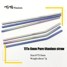 TiTo титановые соломинки с 1 щеткой для очистки титана aolly соломинка с изгибом кухня Открытый Кемпинг питьевой подарок соломинки