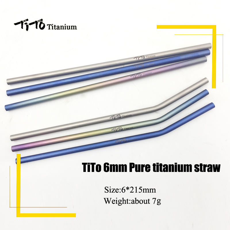 TiTo Titanium Straws With 1 Cleaner Brush Titanium Aolly Bend Straw Kitchen Outdoor Camping Drinking Gift Straws