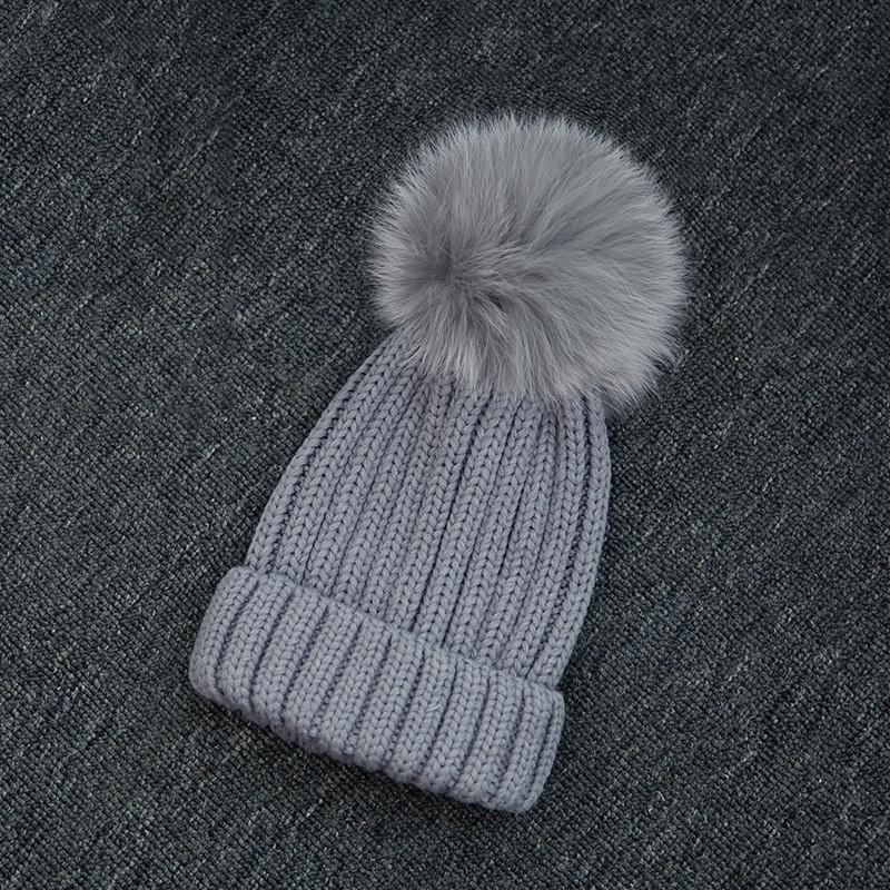 Winter Warm Grey Fox Fur Pom Pom Hat Women Knitted Hats For Women Beanies  Balls d4e7b8c89fa