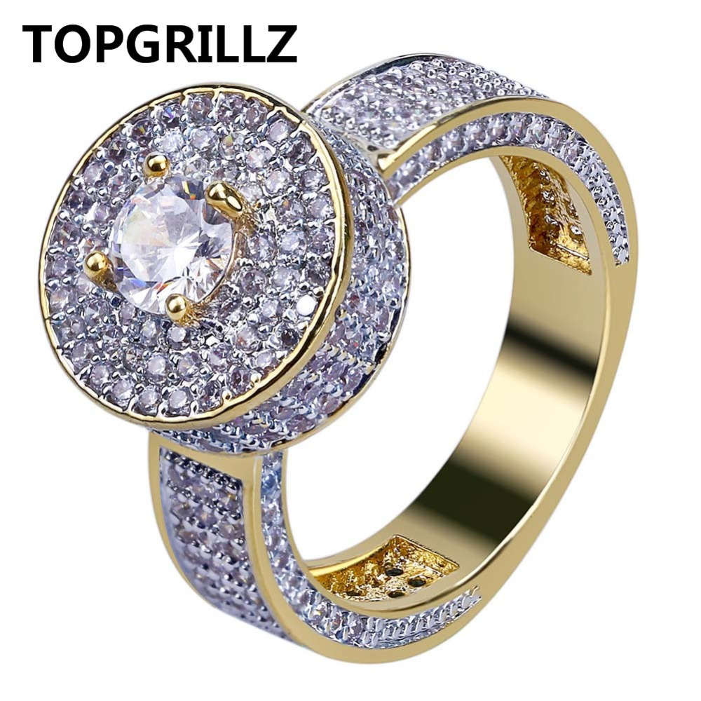 TOPGRILLZ New Style Fashion Hip Hop Gold Color Full Iced Out Bling Jewelry Ring Micro Pave Cubic Zircon Round Rings 7 8 9 10 11 new hip hop fashion 69 saw clown necklace cubic zircon gold silver saw horror movie theme pendant necklace iced out micro pave