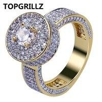 TOPGRILLZ W Nowym Stylu Mody Hip Hop Złoty Kolor Pełny Mrożona z Bling biżuteria Pierścień Mikro Utorować Sześciennych Cyrkon Okrągłe Pierścienie 7 8 9 10 11