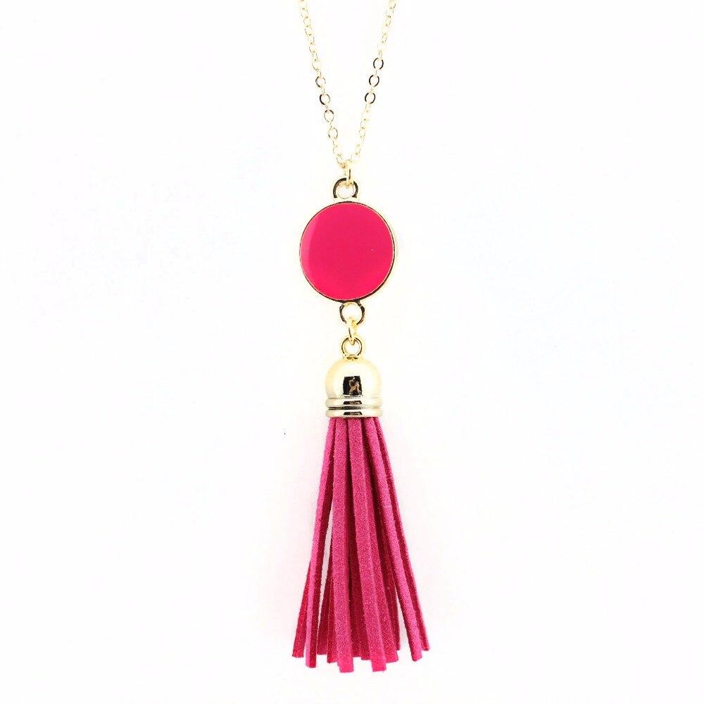 Monogram Enamel Disk kožna kićanka Long Kina privjesak ogrlica za - Modni nakit - Foto 5