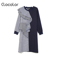 Clocolor Women Straight Dress Summer Pullover O Neck Knee Length Asymmetric Stripe 2018 Modern Fashion Sexy