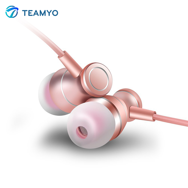 Teamyo W01 Metal Magnets HiFi Stereo Noise Cancelling with Mic in Line Volume Control Earphones In-Ear Headset Music Earbuds Ear yl in ear earphones w mic line control for samsung galaxy n7100 note 3 n9000 pink 112cm