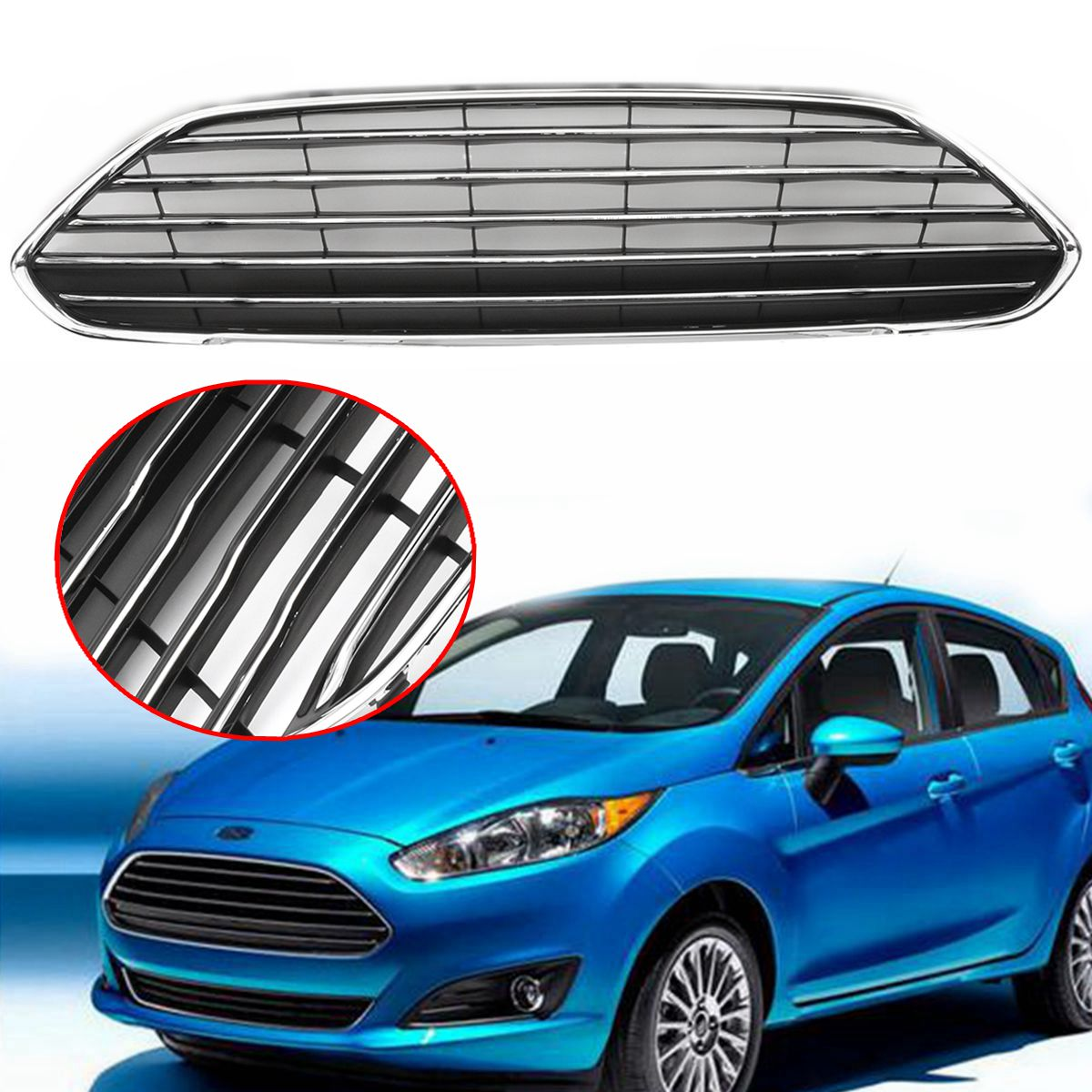 Front bumper radiator centre grille panel trim fit for ford fiesta 2013 2016