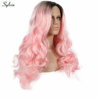 Sylvia Pink Dark Roots Loose Wave Synthetic Lace Front Wigs Long Ombre Color Nature Hairline Heat