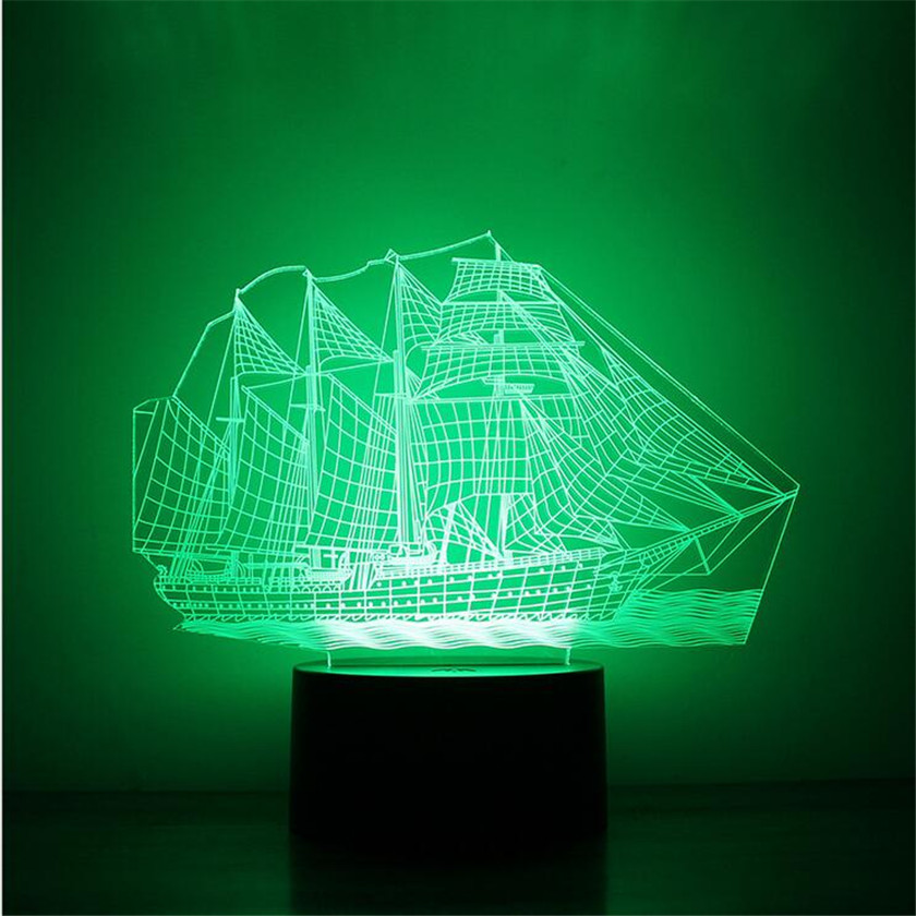 USB Illusion DREAM MASTER 7 Color 3D Visual Led Night Lights For Kids Touch USB Table