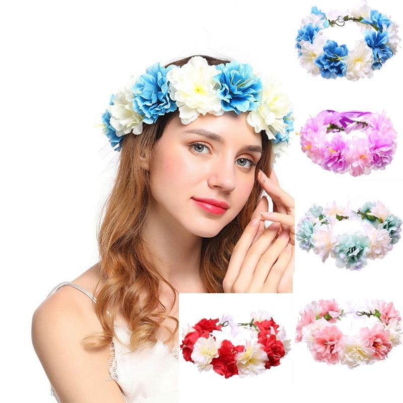 Women Girl Party Wedding Sunflower Garland Beach Wreath Elastic Headband XZ
