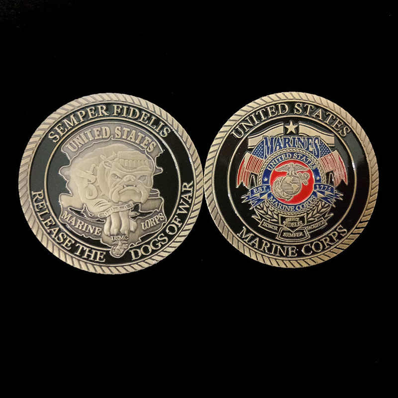 Coin  Decor  Non-currency US Marine Corps Plated  Art  Gift  Dogs of War Collection  Collectible  Craft Commemorative