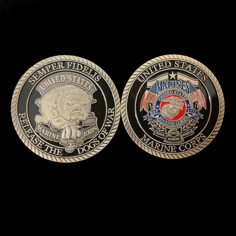 מטבע בעיצוב שאינו מטבע חיל הנחתים האמריקאי מצופה אמנות מתנה כלבי מלחמה אוסף אספנות מלאכת הנצחה