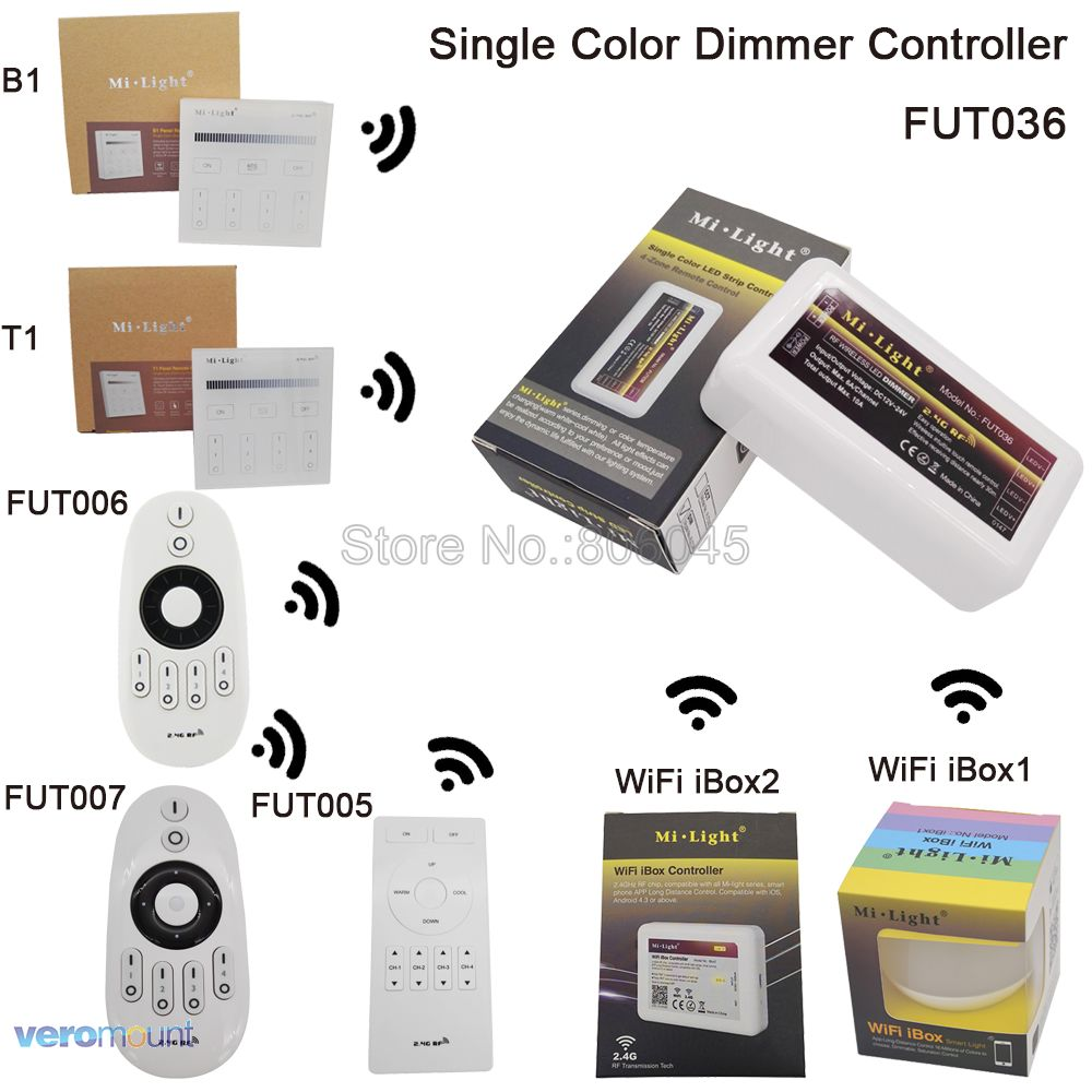 цена Milight FUT036 Dimmer Controller DC12-24V 10A Brightness Adjustable for LED Strip with 2.4G Wireless Touch Remote Support WiFi