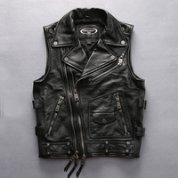 For Cool Harley Rider Mens Cow Leather Vest Turn Down Collar Zipper Slim Short Genuine Cowhide