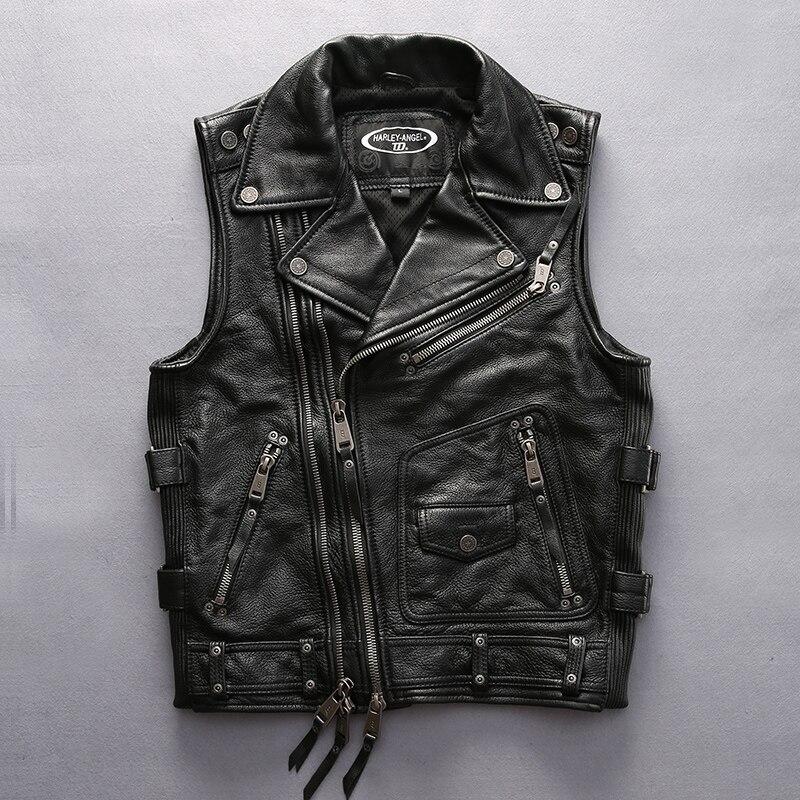 Qualità eccellente Per raffreddare Harley rider Mens del cuoio della mucca maglia in vera pelle di vacchetta moto rider maglia HA-102