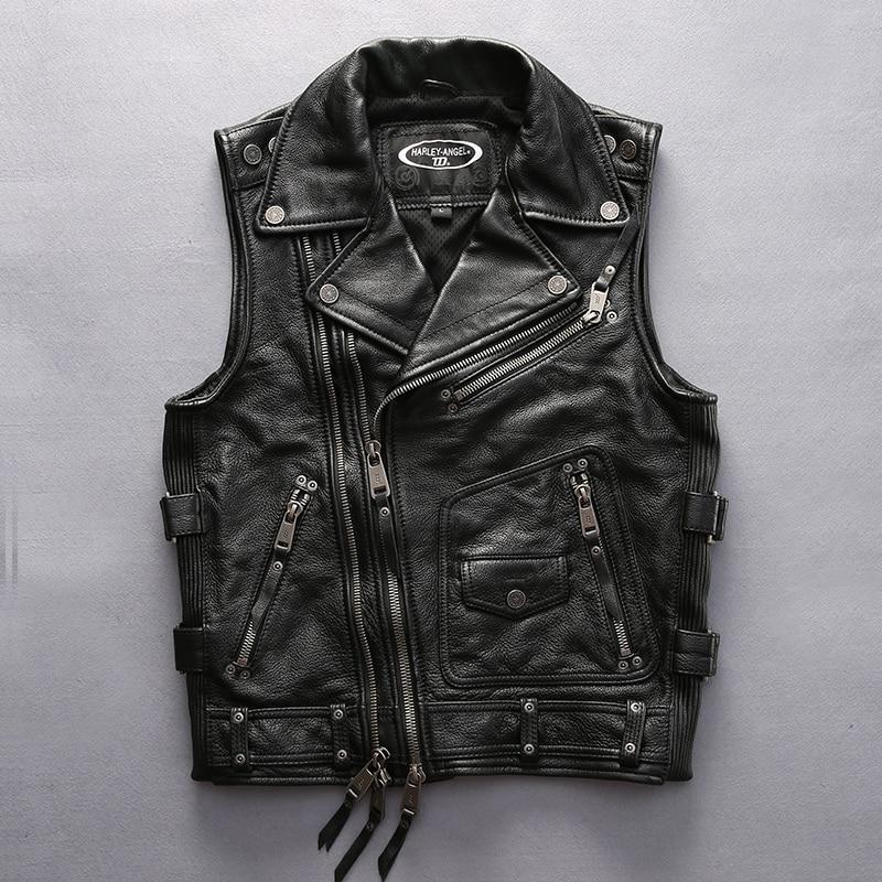 superkvalitativ För cool Harley rider Mens ko läderväst äkta - Herrkläder