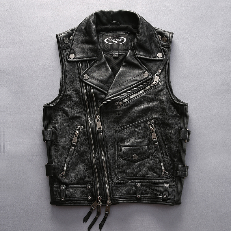 super quality For cool rider Mens cow leather vest genuine cowhide leather motorcycle rider vest HA-102