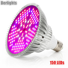 Фотография 150 LEDs Grow Light Full Spectrum 100W E27 AC85~265V LED Plant Lamp Indoor Growth LED Bulb for Flower Veg Greenhouse Tent