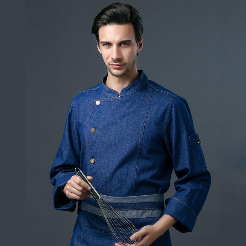 Adult Women Home Kitchen Bakery Cook Chef Uniform Food Service Men Shirt Denim Thick Autumn Winter Tops With Apron Work Wear