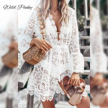 WildPinky V neck Women embroidery Sexy White Dress Long Sleeve Hollow Out Mini-dress Ruffled Style Elegant Party Dress Vestidos цена и фото
