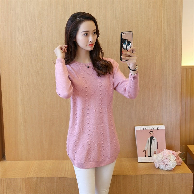 2019 Autumn New Korean Women Loose Knit Sweater Female Long Shirt Thin O-neck Stitching Pullover Winter Bottom Tops For Women's