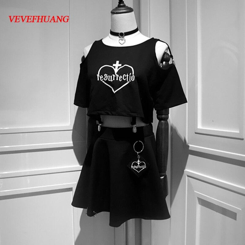 Foncé Noir Femmes T-shirt Japonais Harajuku Streetwear Broderie Coeur Femme Crop Tops Dur Fille Encolure T-shirts Chemise 2018