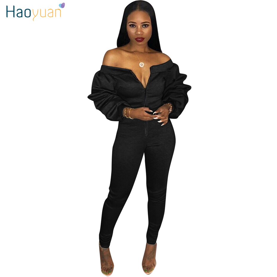 830d6a8a4b91 HAOYUAN Off Shoulder Sexy Jumpsuit Plus Size Overalls Layered Ruched Long  Sleeve Yellow Black Bodycon Rompers