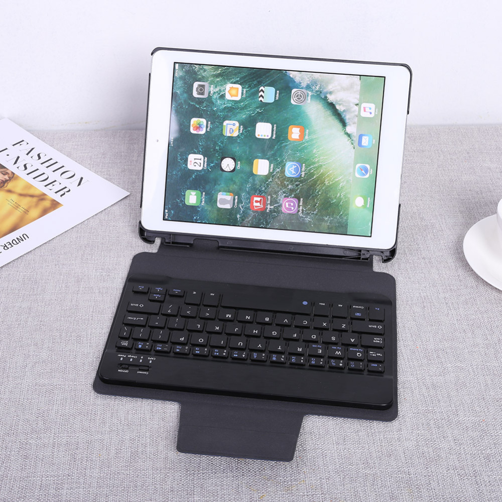 for iPad 9.7 2018/2017 Protective Leather Case Split Bluetooth Keyboard Case Protective Stand Cover Holder with Pen Slot