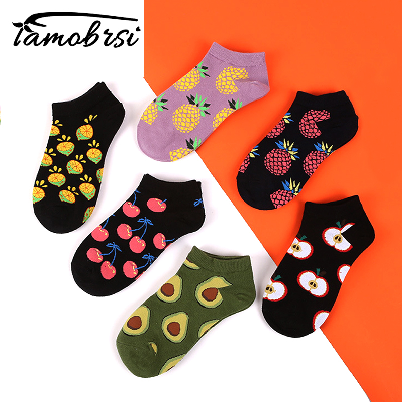2019 Avocado Lemon Pineapple Cherry Fruit Apple Fashion Socks Happy Cotton Funny Socks Women Short Cool Summer Casual Socks Men
