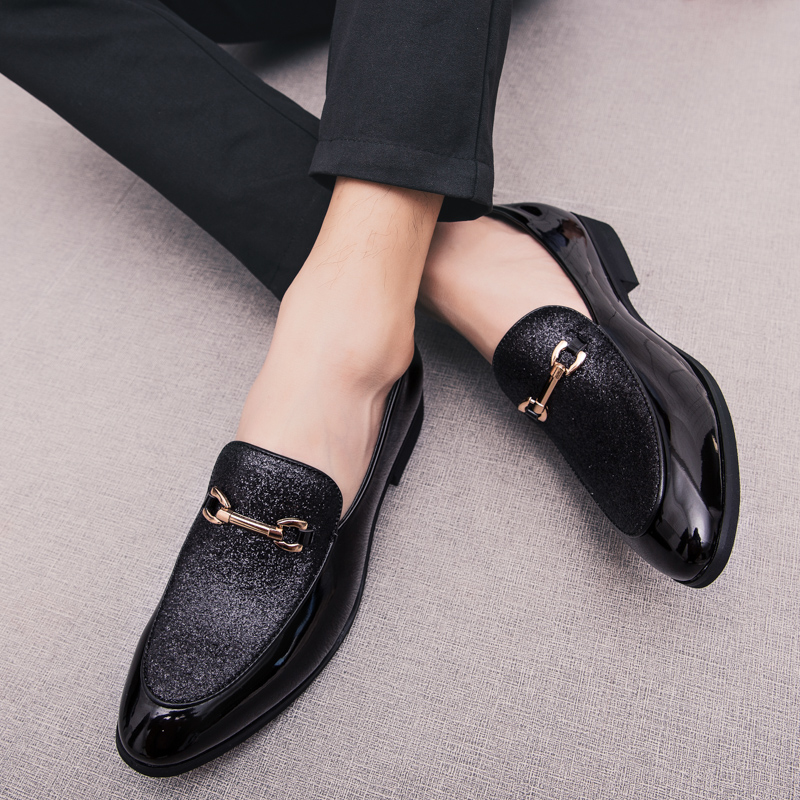 Men Loafers Dress-Shoes Slip-On Business Formal Pointed-Toe Wedding Fashion Mariage K4 title=