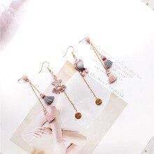 Korea Handmade Cartoon Bear Star Tassel Princess Women Drop Earrings Dangle Fashion Jewelry Accessories-JQD5