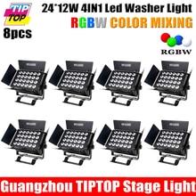 Цена со скидкой 8 Упак. 24*12 Вт RGBW крытый Led Wall Washer свет ЖК-Дисплей DMX512 В/ВЫХОД 3PIN Прожектор и Шторки выставка