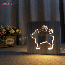 French Bulldog Lamp LED USB 3D Night Lamp Baby Room Decoration Wooden Warm Lights nordic lamp led wooden table lamp 3d night lights led warm white light for bedroom living room bar cafe decoration