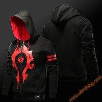 Wishining 2016 WOW Horde Logo Sweatshirt Men Black 3xl Large Size Zip Up Hoodies Cool