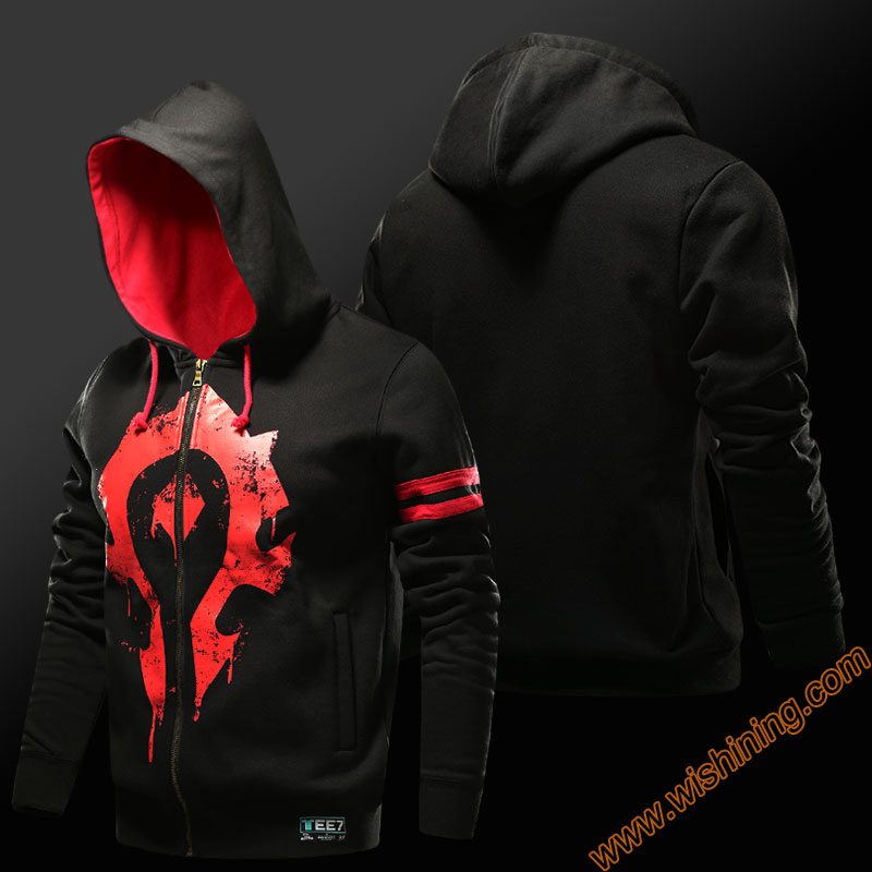 Quality Horde Hoodie Alliance Logo Hooded Sweatshirt Men Black 3xl 4xl Large size Coats Zip Up Game cosplay costumes