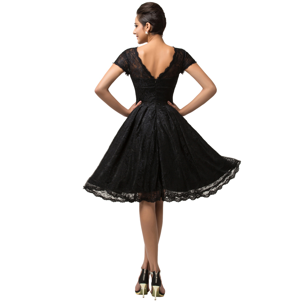 Popular Grace Karin Short Sleeve Black Lace Prom Dresses Knee Length Sexy  Short Party Dress Birthday Homecoming Gown CL007559-in Prom Dresses from  Weddings ... 54d66ef9c743
