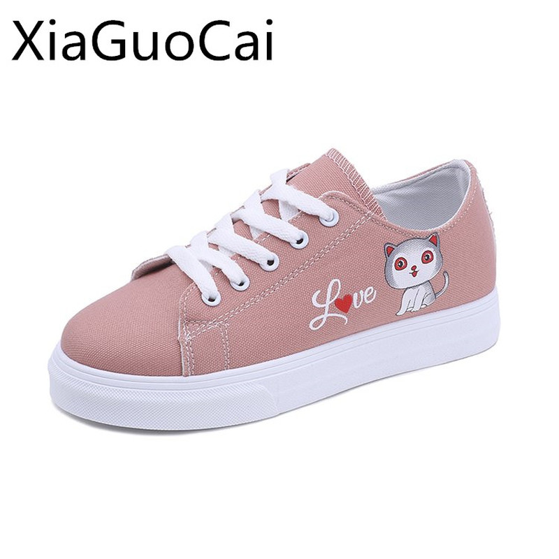 Cute Animal Summer Woman Casual Shoes Lace-up Cartoon Cat Canvas Shoes for Ladies Student Flat with Breathable Flats 35 huanqiu women mesh shoes casual lace up summer ladies flats white shoes breathable candy colors woman shoes 6e04