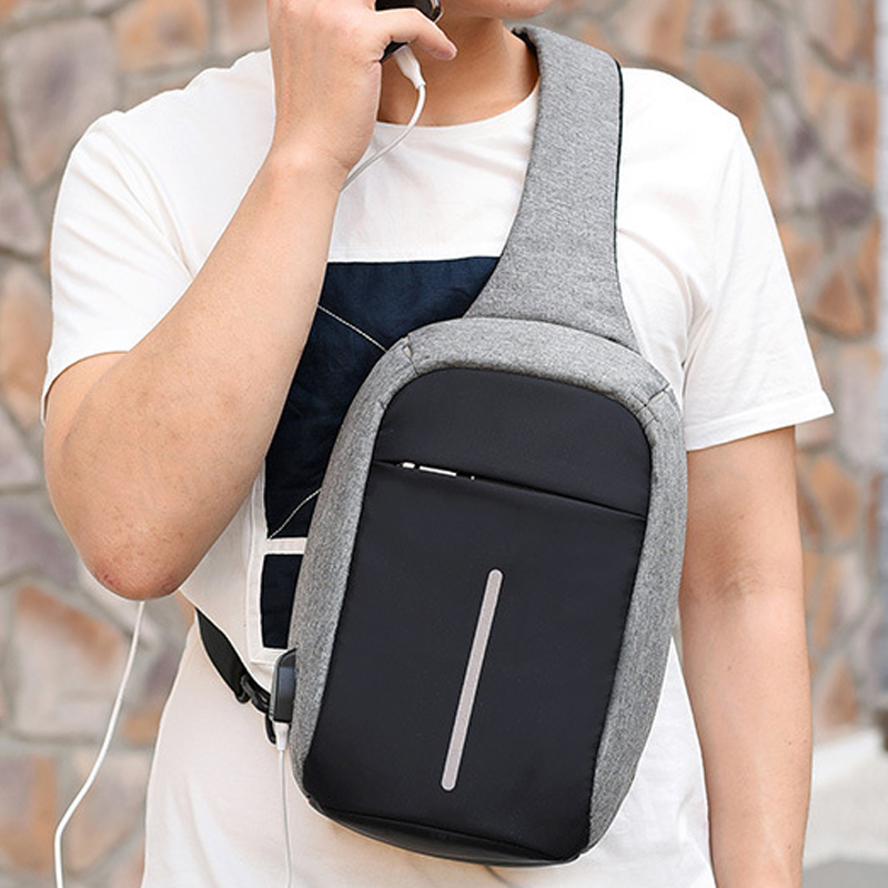 Multifunctional Canvas Sling Bags For Woman,Man Anti-theft Messenger Bags,woman's Chest Bag,Rechargeable Travel Shoulder Bag,Z97