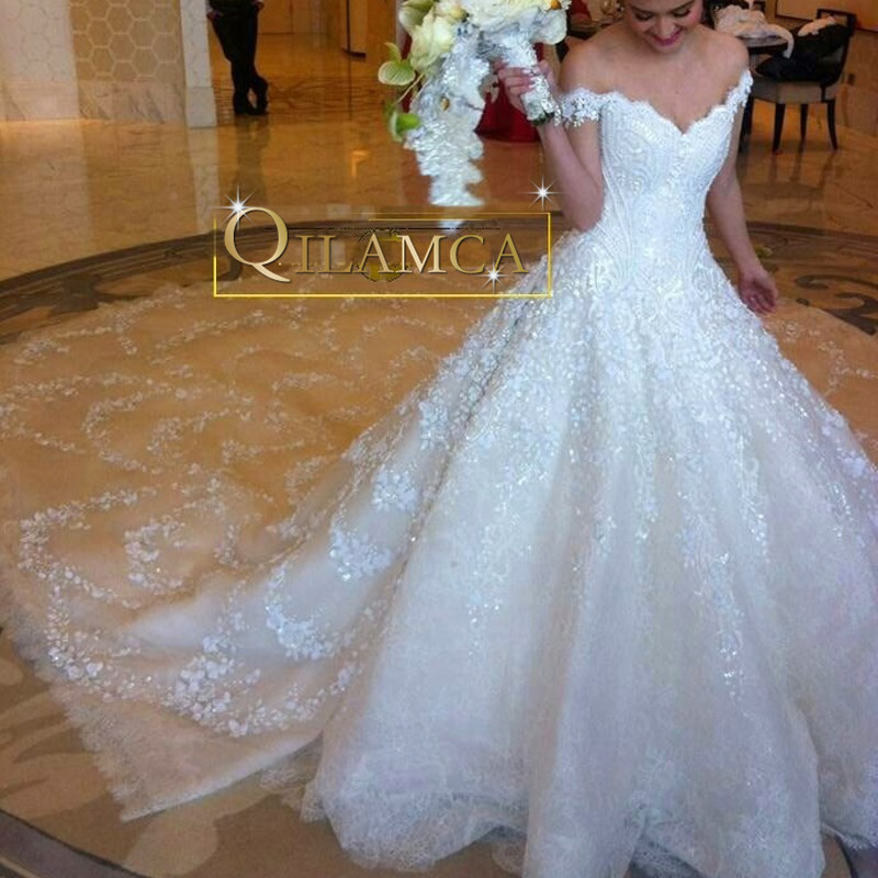 Luxury Wedding Dress 2016 Royal Train Off Shoulder Bridal