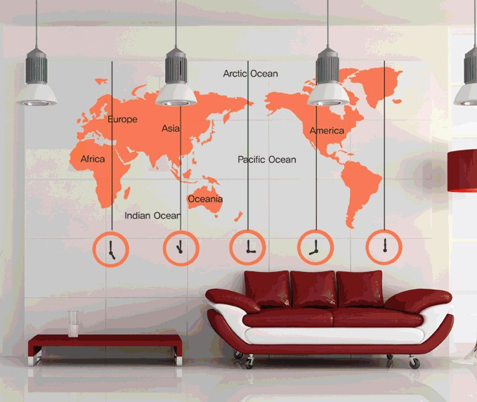 Clock Wall Decor online shop free shipping wall sticker 223x170cm large world map