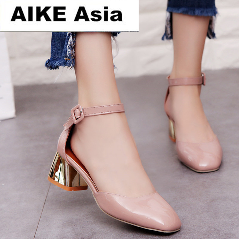 купить Zapatos Mujer Women Pumps Ankle Strap Thick Heel Women Shoes Square Toe Mid Heels Dress Work Pumps Comfortable Ladies Shoes 5cm по цене 815.29 рублей