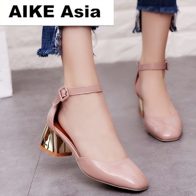 fc9c0e51be4 Zapatos Mujer Women Pumps Ankle Strap Thick Heel Women Shoes Square Toe Mid  Heels Dress Work Pumps Comfortable Ladies Shoes 5cm