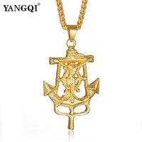 YANGQI Anchor Cross Charm Pendant Necklace For Women Men Stainless Steel Jesus Christ Cross Crucifix Anchor