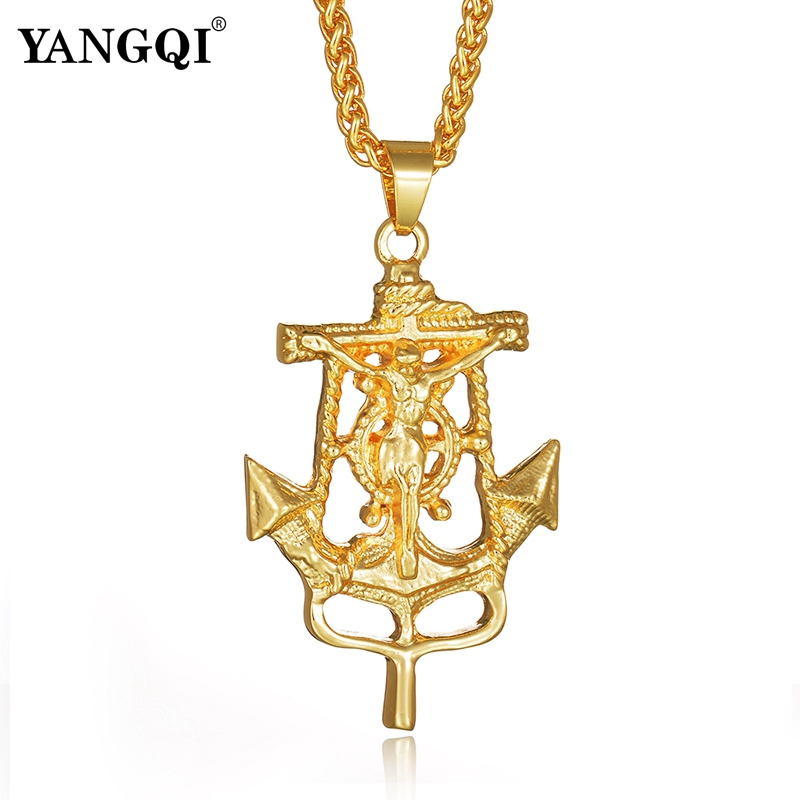 YANGQI Anchor Cross Charm Pendant Necklace for Women Men Stainless Steel Jesus Christ Cross Crucifix Anchor Pendant Necklace