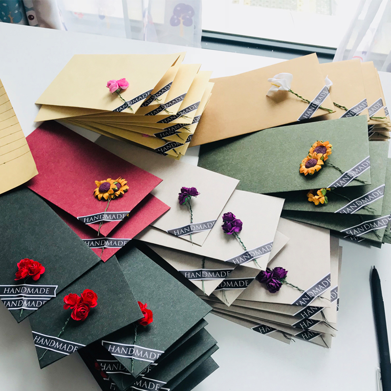 10pcs/20pcs Lot Flower Letter Set Creative Vintage Romantic Envelopes For Birthday Christmas Wedding Writing Envelopes