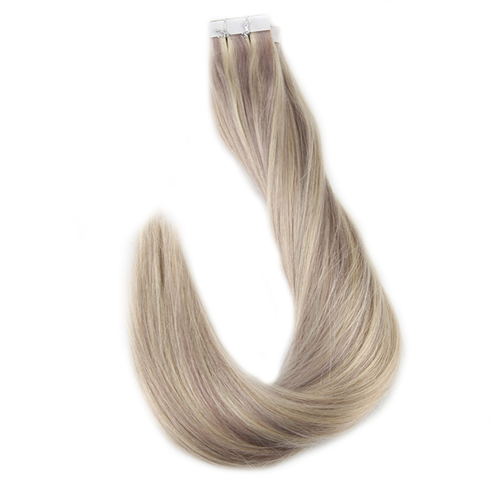 Full Shine Highlight 40pcs 100g 100% Human Hair Piano Color #18 Ash Blonde And 613 Tape In Hair Extensions Machine Made Remy