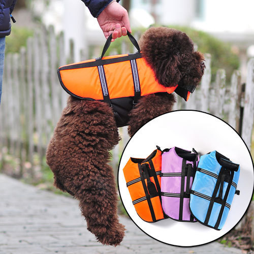 Pet  life vest dog  waterproof floatation jacket clothes three colors blue, orange, light purple for choose CW102